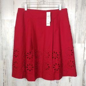 🌿 Ann Taylor Loft Red Skirt Size 10 Petite
